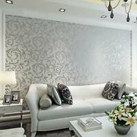 Modern Home Decor Metallic Textured Damask Embossed Wallpaper Soft Gray Silver