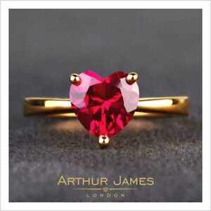 Single Stone Heart Cut Red Ruby Diamond Women's Engagement 14K Yellow Gold Ring