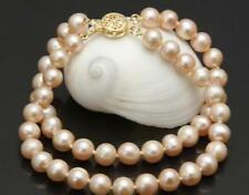 Double Strands natural 9-10mm pink south sea Pearl Bracelet 14k gold