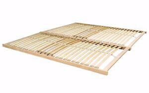 Nevada King 5ft Wooden Slatted Bed Base Frame Sprung Curved Slats - 2 Pieces