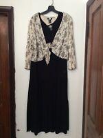 STUDIO 1940 Black Ruffle DRESS Ivory Tie Peasant Floral Top SET size 24 W