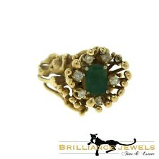 Magnificent Rectangular Emerald and Diamond 18k Yellow Gold Spike Ring