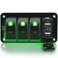4 Gang Toggle Rocker Switch Panel USB Car Boat Marine RV Truck Green LED 12V-24V