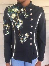 Stitched Bird Design Blazer Size S Women's Sans Noblesse S'Nob Brand Hand