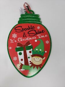 Sparkle & Shine It's Christmas Time w/ Glitter Decorative Holiday Sign - New