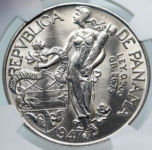 1947 PANAMA Large CONQUISTADOR BALBOA Liberty Vintage OLD Silver Coin NGC i85342