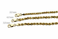 """Solid 14k Yellow Gold 3mm-5mm Rope Chain Link Pendant Necklace Men Women 16""""-30"""""""