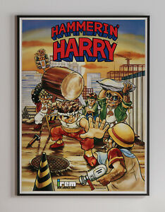 Hammerin Harry 1990 Retro Arcade Game Poster 18 x 24 inches