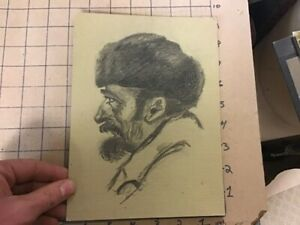 early drawing on thicker paper board -- RUSSIAN MAN IN HAT, unsigned, undated