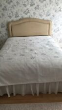 Nearly White Coloured Bed Spread With Embroided Sequin Flowers
