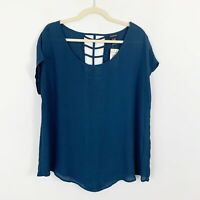 NEW Torrid Womens Blue Size 12 Georgette Cage Cut Out Back Short Sleeve Blouse