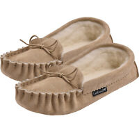 Mens Premium Sheepskin Moccasin Slippers with Suede Sole UK Made by Lambland
