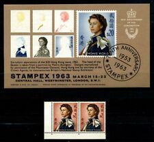 Hong Kong stamps, 1962 $2 pair Mint LH, 1963 Stampex mini sheet Mint LH