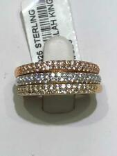 3 Tri Color Gold Sterling Silver White Sapphire Pave Half Way Band Rings Sz7