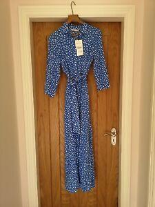 ZARA MARILYN LONG PRINTED/SPOTTED DRESS BLUE/WHITE SHIRT DRESS Size small BNWT