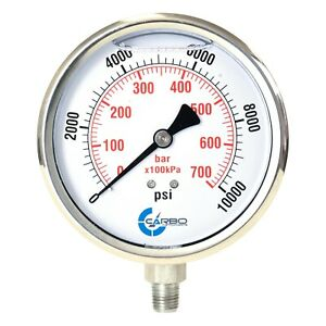 "4"" Pressure Gauge, Stainless Steel Case, Liquid Filled, Lower Mnt 10000 PSI"