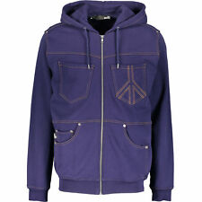 LOVE MOSCHINO Men's Navy Denim Look Hooded Jersey Jacket, Medium