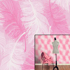 Coloroll Powder Pink Feather Quill Pink White Silver Glitter Feature Wallpaper