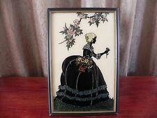Reverse Painting Art Smith Frederick Old Fashioned Garden Women Silhouette Frame