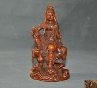"""6""""China Boxwood Wood carved sit lotus Kwan-yin GuanYin Bodhisattva Buddha statue"""