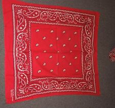 Vtg RED & WHITE  100% COTTON  WESTERN HIPPIE BANDANA HANKY KERCHIEF RN 13960
