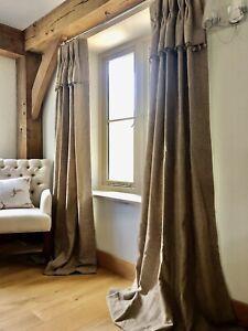 Herringbone Wool Pom Pom Trim Country Handmade Interlined Curtains