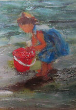 Baby 0n Beach ACEO Limited Edition Giclee Print Of Original Acrylic Painting