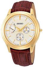 SEIKO SNT006 SNT006P1 Mens Retrograde Gold Tone Band Quartz Watch