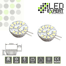 2 x 2W G4 LED Bulbs Round Ceramic Cool White 5 Year Warranty Super Bright