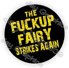 The F Up Fairy Strikes Funny Hard Hat Sticker | Motorcycle Helmet Decal | Welder