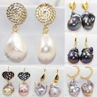 Women Geometric Dangle Drop Hook Pearl Ear Stud Earrings Jewelry Dangle Earbob z