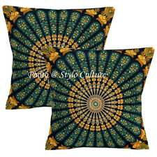 Decorative Cotton Throw Pillow Covers Black 40cm Printed Mandala Cushion Covers