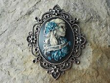 SKELETON, FOREVER LOVE HAND PAINTED CAMEO PENDANT - ANY COLOR - GOTH, GOTHIC