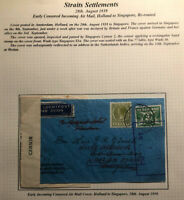 1939 Amsterdam Netherlands Censored Airmail Cover To Singapore Te Routed