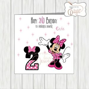 Personalised Minnie Mouse Birthday Card Daughter Granddaughter ANY AGE 1st 2nd 3