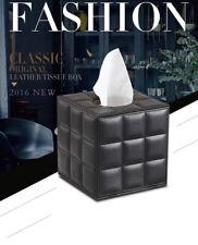 European Modern Square PU Leather Tissue Box Black White Paper Towel Storage Rol