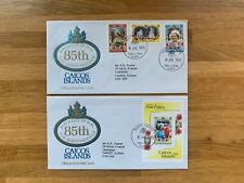 CAICOS ISLANDS 1985 FDC x 2 QUEEN MOTHER 85TH BIRTHDAY ROYALTY & MINISHEET