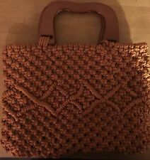 Handmade Macrame Hand Bag Vintage Cord And Handles Made 2015