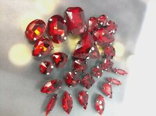 25 Mixed Sew On Crystals Glass Silver Claw Set Rhinestone Gems Light Red Siam