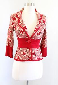 Moth Anthropologie Red Beige Floral Printed Cropped Retro Cardigan Sweater Sz XS