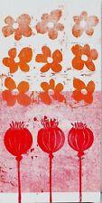 Christina Hißen Trier Holzdruck Öl auf Gewebe signiert 2004 Blumen 30 x 61 cm