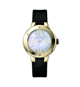 NEW Guy Laroche SL30403 Women's White Mother of Pearl Dial Black Leather Watch