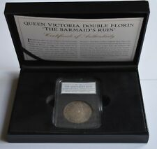 1887 Queen Victoria Silver Double Florin The Barmaid's Ruin COA + Case