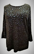 Womens Glitter Embosed Tunic Top Blouse Special Occasion & Party Navy Black NEW