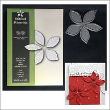 Stitched Poinsettia metal die Poppystamps cutting dies 1338 Christmas Flowers