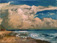 "Cloud Seascape Ocean Impressionist Oil Painting 16""x20"" Original"