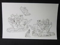 Power Rangers Neo Time Space Red Green White Pink Model Kit Design Original Art