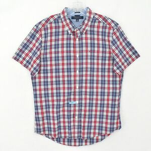 Tommy Hilfiger Button Down Shirt Adult L Large Red Blue Plaid Pocket Flag Logo