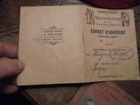 Ancien Carnet d'Adhérent des Mutilés et Invalides du Travail + Vignettes 1954.57