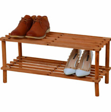 Solid Chunky Wood Antique Wooden Shoe Boot Trainer Rack Storage Shelf Organiser